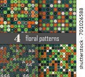 set of four seamless floral... | Shutterstock .eps vector #701026588