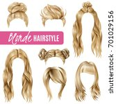 set of coiffures for blond... | Shutterstock .eps vector #701029156