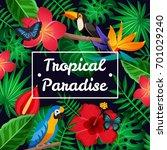 flat design tropical paradise... | Shutterstock .eps vector #701029240