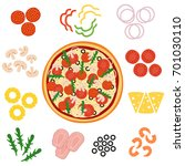 pizza and ingredients for pizza ... | Shutterstock .eps vector #701030110