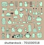 kitchen color icon doodle set | Shutterstock .eps vector #701030518