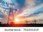 high voltage tower high voltage ... | Shutterstock . vector #701031019