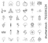 berry icons set. outline style... | Shutterstock .eps vector #701034124