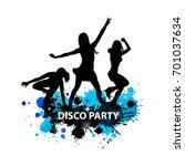 abstract disco dancing girls.... | Shutterstock .eps vector #701037634