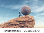 man pushing a large stone to... | Shutterstock . vector #701038570