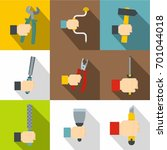 hand with tools icons set. flat ... | Shutterstock .eps vector #701044018