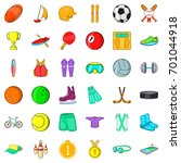 sport icons set. cartoon style... | Shutterstock .eps vector #701044918