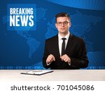 television presenter in front...   Shutterstock . vector #701045086