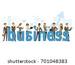 group of smiling office people... | Shutterstock .eps vector #701048383