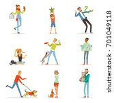 happy people having fun with... | Shutterstock .eps vector #701049118