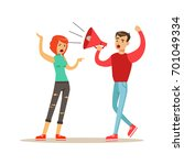 young men characters shouting... | Shutterstock .eps vector #701049334