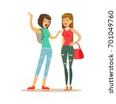 two annoyed women characters... | Shutterstock .eps vector #701049760