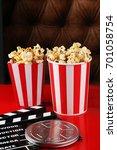 popcorn in a striped box. movie ... | Shutterstock . vector #701058754