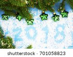 christmas tree on wooden... | Shutterstock . vector #701058823