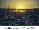 ruins of a city highway.... | Shutterstock . vector #701065933