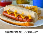 A Grilled Hot Dog With Mustard...