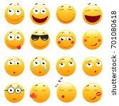set of 3d cute emoticons. emoji ... | Shutterstock . vector #701080618