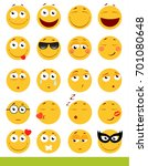 set of cute emoticons. emoji... | Shutterstock . vector #701080648