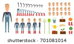 farmer character creation set.... | Shutterstock . vector #701081014