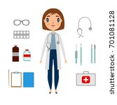 a doctor set of a woman with... | Shutterstock . vector #701081128