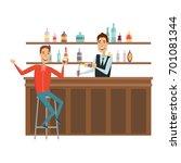 meet and discuss at the bar... | Shutterstock . vector #701081344