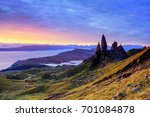 dawn sky over the old man of... | Shutterstock . vector #701084878