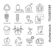 eco icons vector set. thin line ... | Shutterstock .eps vector #701085589