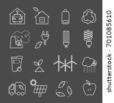 eco icons vector set. thin line ... | Shutterstock .eps vector #701085610