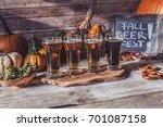 craft beer flight  halloween... | Shutterstock . vector #701087158