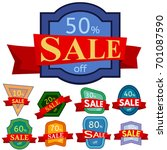 set of different nine discount... | Shutterstock .eps vector #701087590