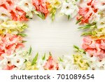 floral frame made of pink ... | Shutterstock . vector #701089654