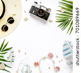 traveler accessories  tropical... | Shutterstock . vector #701089669