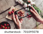girl's hands taking photo of... | Shutterstock . vector #701095078