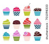 set of cupcakes. | Shutterstock .eps vector #701098333