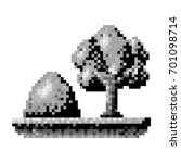 monochrome pixelated tree and...