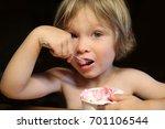 a little caucasian boy is...   Shutterstock . vector #701106544