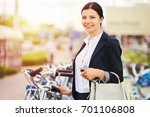 smiling business woman rent a... | Shutterstock . vector #701106808
