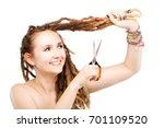 portrait of a caucasian girl... | Shutterstock . vector #701109520
