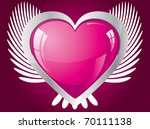 winged glitter pink heart ...