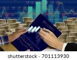 business man on digital stock... | Shutterstock . vector #701113930