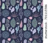 vector floral seamless pattern... | Shutterstock .eps vector #701115586