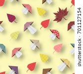 autumn origami pattern with... | Shutterstock .eps vector #701127154