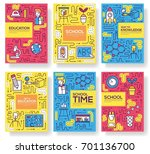 thin line school class brochure ... | Shutterstock .eps vector #701136700