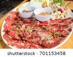set shabu shabu beef sliced  | Shutterstock . vector #701153458