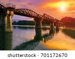 colorful twilight time of river ... | Shutterstock . vector #701172670