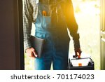 worker  service man  plumber or ... | Shutterstock . vector #701174023