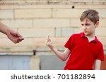 Boy Showing Middle Finger...