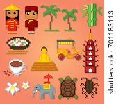 vietnam icons set. pixel art.... | Shutterstock .eps vector #701183113