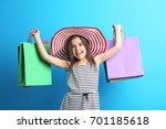 beautiful little girl with hat... | Shutterstock . vector #701185618