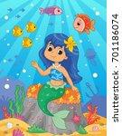 cute little mermaid on the sea...   Shutterstock .eps vector #701186074